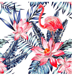 Pink watercolor flamingo and blue palm leaves vector