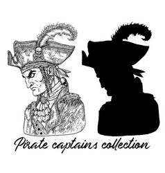 pirate captain in hat and silhouette vector image