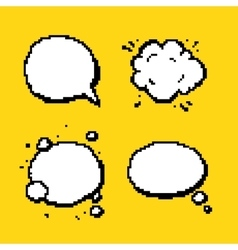 Pixel pop art speech bubbles isolated vector image