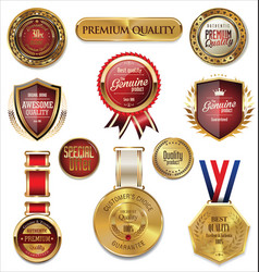 Premium quality gold and red medal collection vector