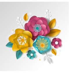 Realistic paper floral background vector