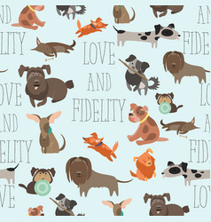 Seamless pattern funny mixed breed dogs vector