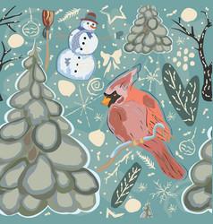 seamless winter pattern with cute cardinal bird vector image