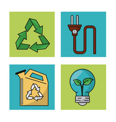 set ecology environment recycle conservation vector image