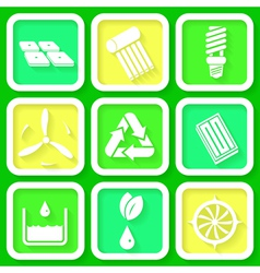 Set of 9 retro icons of renewable energy vector image