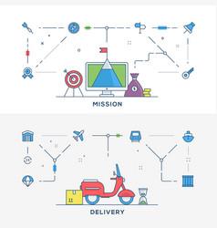 set of flat line business website banner vector image