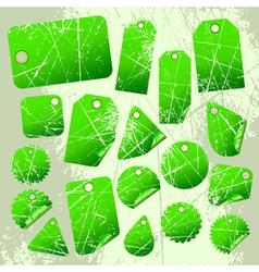 set of green tags vector image