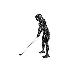 silhouette drawing girl playing golf in position vector image
