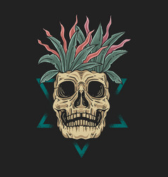 skull floral dead beauty concept vect vector image