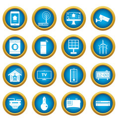 Smart home house icons blue circle set vector