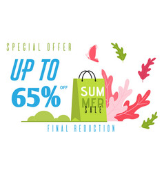 Special summer flat banner offers final reduction vector