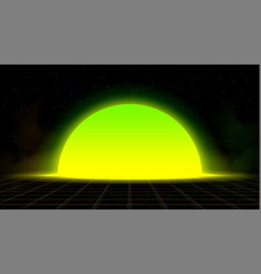 synthwave vaporwave retrowave yellow green sunset vector image