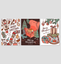 three greeting merry christmas card poster vector image