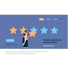 three star rating indian woman giving feedback vector image