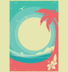 Tropical landscape with palms and sea waves vector
