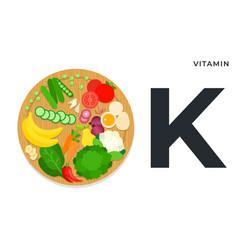 Vitamin k food sources flat vector