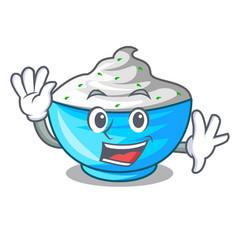 Waving sour cream in a wooden bowl cartoon vector