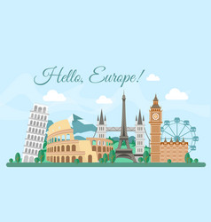 Welcome europe greeting card vector