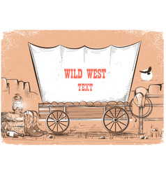 wild west wagon background for text vector image