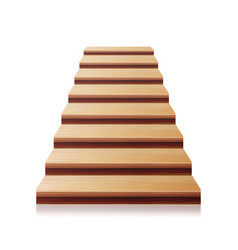 Wooden staircase 3d realistic vector