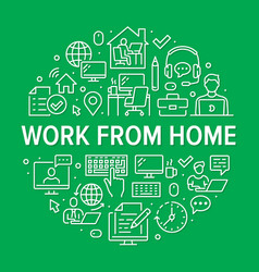 work from home circle poster with line icons vector image