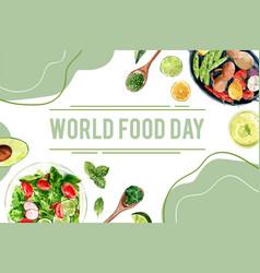 World food day frame design with peas avocado vector