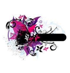 grunge vintage floral frame vector image vector image