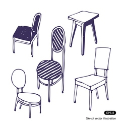 Hand drawn chairs Isolated vector image