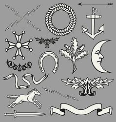 Heraldic symbols and elements vector image vector image