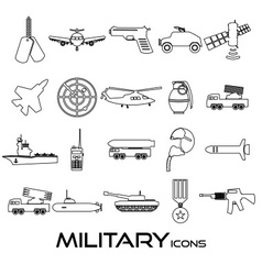 military theme simple black outline icons set vector image vector image
