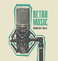 retro music poster with a realistic microphone vector image vector image