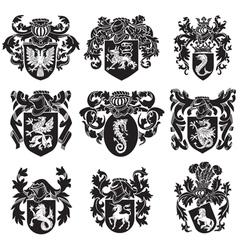 set of heraldic silhouettes No1 vector image