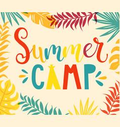 summer camp handdrawn lettering vector image