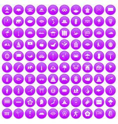 100 asian icons set purple vector