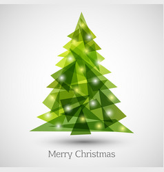 abstract christmas tree made of green triangles vector image