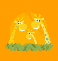 cute giraffe family portrait vector image