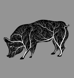 Silhouette of a pig with a bush texture vector
