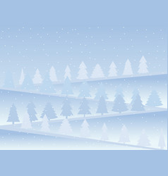 snow-covered mountains with christmas trees snow vector image