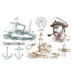 boatswain with pipe lighthouse and sea captain vector image vector image