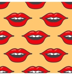Bright red lips seamless pattern vector image vector image