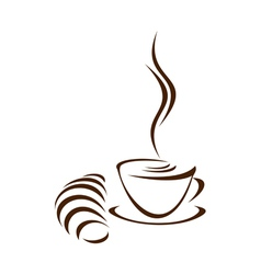 coffee and croissant vector image vector image