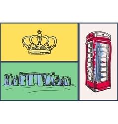 English National Symbols Doodle Set vector image vector image