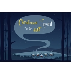 Town willage in winter forest woods Merry vector image vector image