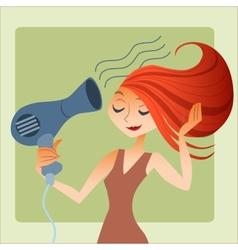 woman dries hair vector image