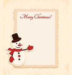 Congratulation gold retro background with snowman vector image