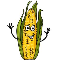 funny corn on the cob cartoon vector image vector image