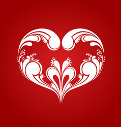 Heart ornament on red background vector image vector image