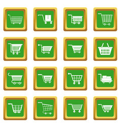 shopping cart icons set green vector image vector image