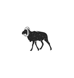 wild goat silhouette shape vintage hand drawn vector image