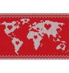 world map lovely knitting style vector image vector image